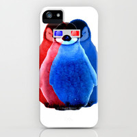 Funny 3D cool Penguins with glasses, blue & red  iPhone & iPod Case by Girly Trend