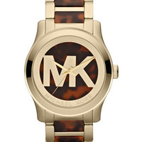 Michael Kors Oversized Horn/Golden Stainless Steel Logo Three-Hand Watch