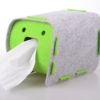 Fabric Cloth Tissue Box Cover Holder, Green Color