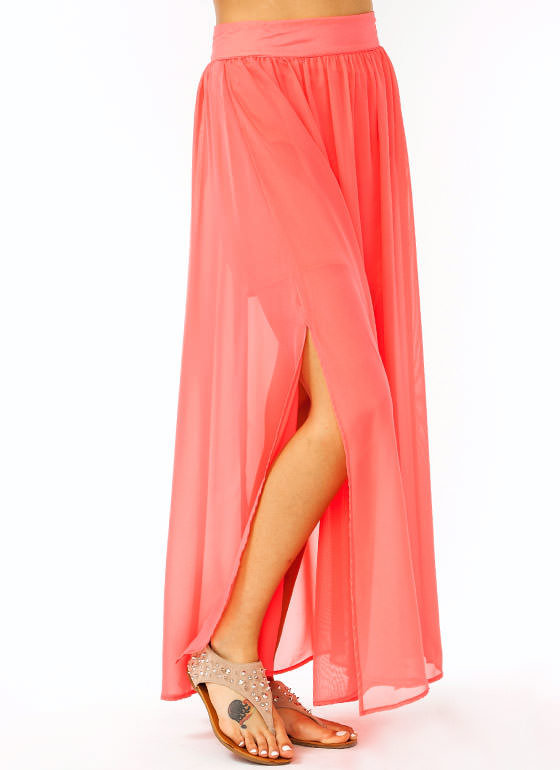 slit chiffon maxi skirt coral from gojane