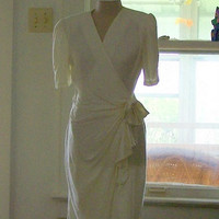 1980's Draped Off White Dress with a Bow