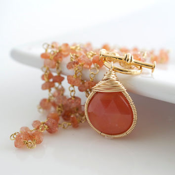 Orange Chalcedony Necklace, Chalcedony Pendant Necklace, Gemstone Necklace, Orange Necklace, Delicate Necklace, Bridal Jewelry