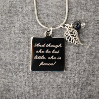 and though she be but little engraved silver or gold charm necklace