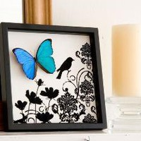 Blue Morpho Butterfly Damask Bird and Flower Print - Real Framed Butterfly Display