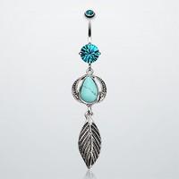 Sacred Stone and Feather Belly Button Ring