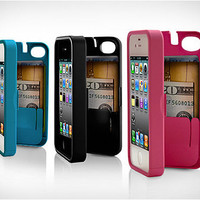 Red Case for iPhone 4/4S with built-in storage space for credit cards/ID/money by EYN