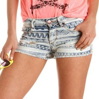 Destroyed Tribal Print Denim Short: Charlotte Russe