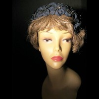 Vintage Womens Flower Covered Blue Half Hat Fascinator | madhatsandmore - Accessories on ArtFire