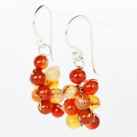 Amazon.com: Carnelian and Citrine Gem Stone Silver Earring Orange Grape Handmade By Flower Gemstone: Arts, Crafts & Sewing