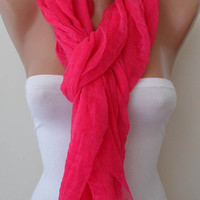 New - Mother's Day Gift -  Pink Scarf - Tulle Fabric - Seamless Shawl - Handmade Fashion