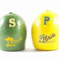 Lemon & Lime Salt and Pepper Shakers Kitsch Retro Florida Tropical Citrus Souvenir / Vintage 60s 70s