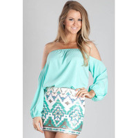 Mint Sequined Aztec Mini Skirt