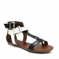 buckled-metallic-gladiator-sandals BLACKMULTI WHITEMULTI - GoJane.com