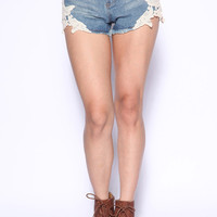 Lace High waisted Denim Shorts