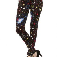 The Saturn Space, Stars, and Galaxy in Red Print Legging