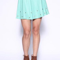 Star Studded Skater Skirt - Mint