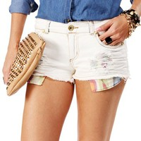 Light Denim Destructed Peek-A-Boo Shorts