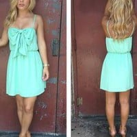 Mint Sleeveless Dress with Bow Front & Scoop Back