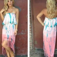 Pink & Blue Tie Dye Print Hi-Low Dress with Fringe Detail