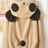 Light Khaki Lovely Panda Super Adorable Long Sleeve Cardigan