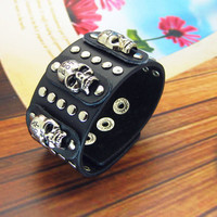 Punk Cool Rock Black Leather Bracelet Skull Rivets by sevenvsxiao