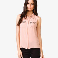High-Low Studded Pocket Top | FOREVER 21 - 2022114591