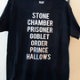 Harry Potter movie titles - black Tshirt tee silver foil print Unisex Mens Medium - M - hand printed