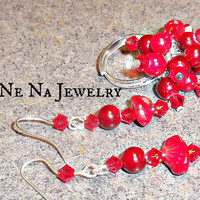 "Earring and Ring Set  Genuine Coral, Swarovski Crystals and Quartzite ""Divalicious Red"""