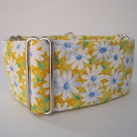 Yellow Martingale Collar, Yellow, Daisy Martingale Collar, Floral, Greyhound Collar, Dog Collar, Daisies, Greyhound Martingale