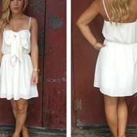 Cream Sleeveless Dress with Bow Front &amp; Scoop Back