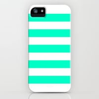 Mint White Stripes iPhone & iPod Case by M Studio