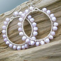 Sterling Silver Hoop Earrings With Lavender Pearls