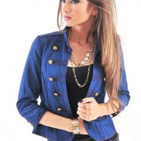 Blue Military Open Front Denim Jacket