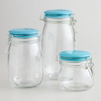 Aqua Lidded Glass Canister | World Market