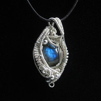 Handmade Sterling Silver Wire Wrapped Pendant with Intensely Blue Labradorite