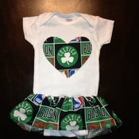Boston Celtics Girls Ruffle Onesuit
