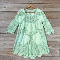 Vintage Mint Battenburg Lace Dress, Sweet Country Inspired Vintage Clothing