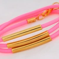 Neon Wrap Tube Bracelet, Gold and Neon Pink | Little Paper Planes