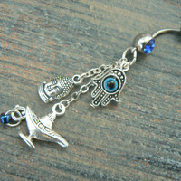 buddah hamsa hand genie belly ring protection karma luck in belly dancer indie gypsy hippie morrocan boho and hipster style