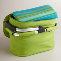 Green Insulated Double-Decker Tote Bag with Blanket