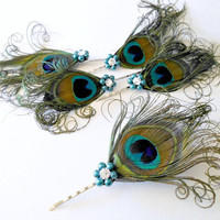5 Wedding Hair Pieces - Bridesmaid Set Feather Hair Pins Feather Fascinator Teal Peacock Vintage Wedding