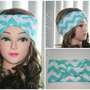 Tiffany Blue Chevron Turban Headwrap