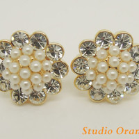 FASHION  jewelry 1PAIR Bling Crystal Pearl Flower w/Crystal Frame Ear Stud Earring, Best Friend Gift