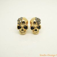 FASHION  jewelry 1PAIR Bling Crystal Skull Ear Stud Earring, Best Friend Gift, 1 Pair