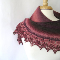Elizabeth Bennet : Shawl Inspired by Pride and Prejudice - Burgundy and Pink Lace Shawl