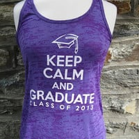 Purple Keep Calm and Graduate Class of 2013 Tank
