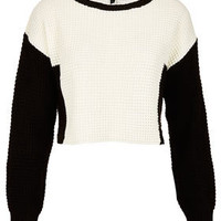 Knitted Colour Block Crop Jumper - Crops - Knitwear  - Clothing
