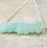 Seafoam Sea Glass Necklace:  Silver Wire Wrapped Aqua Mint Green Chunky Single Strand Bar Necklace