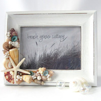 Beach Decor Seashell Frame - Nautical White Shabby Chic Frame w Shells & White Starfish - 5x7