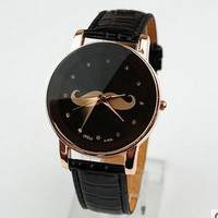Mustache Watch,Fashion Wrist Watch Black Artificial Leather Watch Retro Style Women's Watch, Everyday Bracelet  PB0177